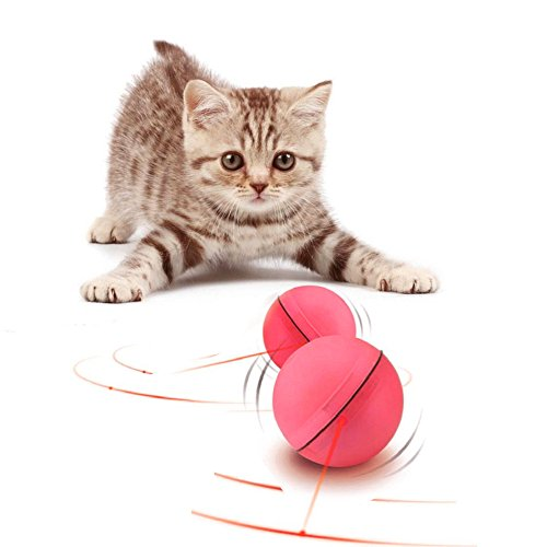 Interactive Cat Toy 360 Degree Self Rotating Ball Automatic Light Toy For Pet(Batteries Included, Plus Extra Batteries) (Pink)