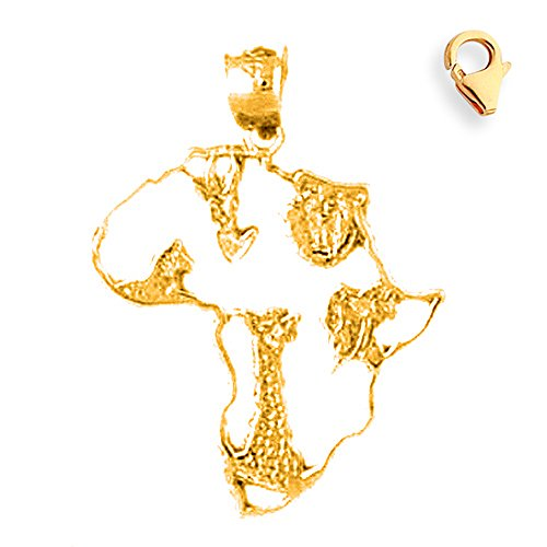 14K Yellow Gold 28mm Africa Charm w/ Lobster Clasp by JewelsObsession