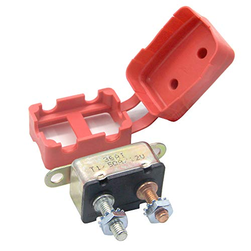- RKURCK 12V 50A Circuit Breaker Automatic Reset for Automotive RV Marine Boat with Protective Red Boot Cover