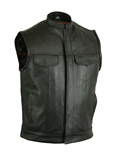 Milled Cowhide (DS189A Concealed Snap Closure, Milled Cowhide, Scoop Collar & Hidden Zipper - Motorcycle Vest)