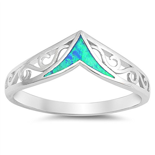 Blue Simulated Opal Filigree Chevron Swirl Ring .925 Sterling Silver Band Size 5