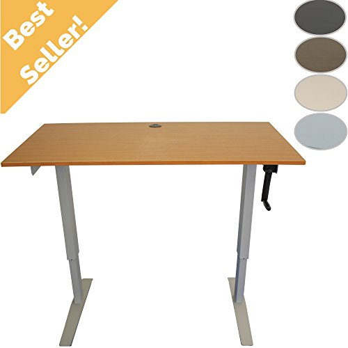 Adjustable Standing Desk with Built-In Charging Station and Teak Top by Rebel Desk (Tall Standing Desk compare prices)
