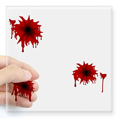CafePress - Bloody Bullet Hole Square Sticker - Square Bumper Sticker Car Decal, 3
