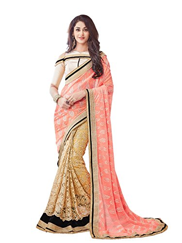 Viva-N-Diva-Peach-And-Beige-Lycra-And-Net-Saree-With-Unstitched-Blouse-Piece