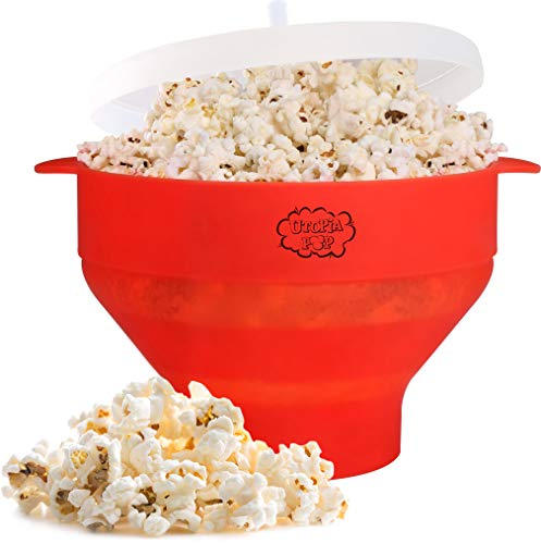 Utopia Kitchen Popcorn Popper - Microwaveable - Collapsible and Compact Silicone Bowl - Dishwasher Safe - No Oil Needed - BPA Free - Cool Touch Handles