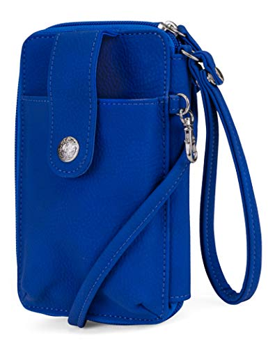 Mundi Jacqui Vegan Leather RFID Womens Crossbody Cell Phone Purse Holder Wallet (Azul) ()