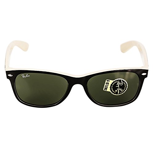 New Ray Ban RB2132 875 Black on Beige Frame/Crystal Green 55mm Sunglasses (Wayfarer Black Ray Cheap Ban)