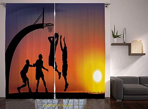 Living Room Bedroom Window Drapes/Rod Pocket Curtain Panel Satin Curtains/2 Curtain Panels/84 x 84 Inch/Teen Room Decor,Boys Playing Basketball at Sunset Horizon Sky Dramatic Scene Decorative,Dark Cor from YOLIYANA