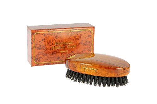 Lacquered Coffee Finish - Hydrea London Gentlemen's Military Style Hairbrush With Pure Black Boar Bristle