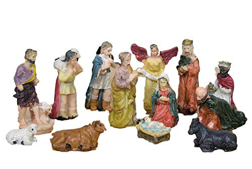 Nativity Scene Figures - BANBERRY DESIGNS Nativity Set Figures -13 Pieces, includes Mary, Joseph, Baby Jesus in Manger, Angel, Wisemen, Shepherds, and Animals