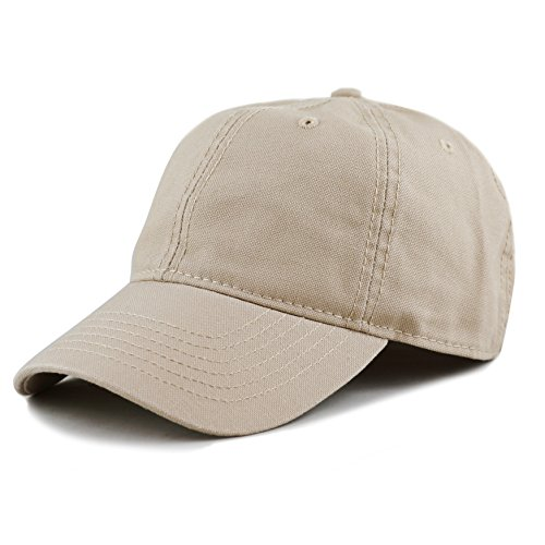 THE HAT DEPOT 100% Cotton Canvas 6-Panel Low-Profile Adjustable Dad Baseball Cap (Khaki) (Canvas Logo Cap)