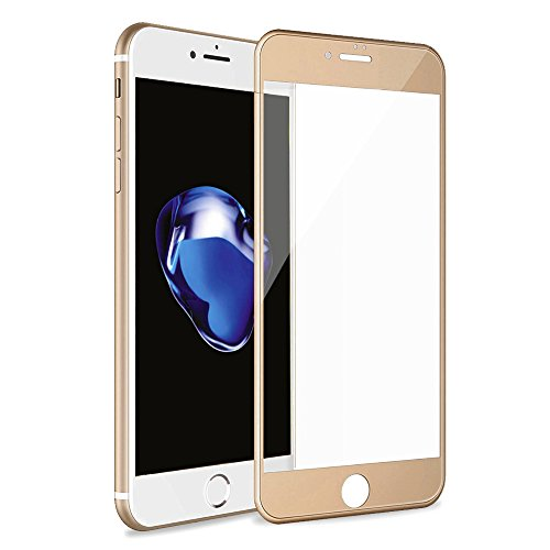 Betemp iPhone 8 Plus/iPhone 7 Plus 3D Full Coverage Tempered Glass, [PET Frame][Edge to Edge Crash Protection] Curved [Scratch Proof][Bubble Free] Screen Protector for Apple iPhone 8 Plus/7 Plus- Gold ()