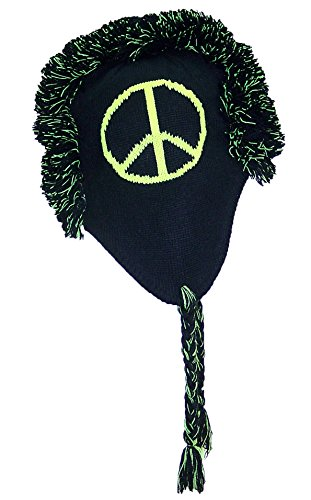 Best Winter Hats Bright Neon Peace Signs Mohawk Winter Ear Flap Hat (One Size) - Yellow