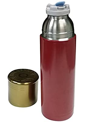 Aquatix Hunting thermos Red Bullet Bottle Double Wall Vacuum Insulated Thermal Shot Gun Shell 12 Ga stainless steel bottles 25 Ounce