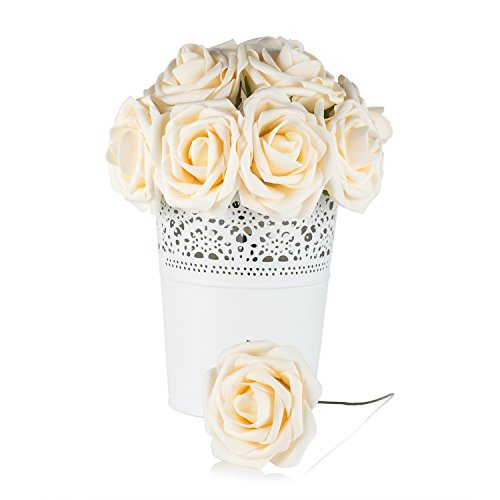 Dinopure Wedding Bouquet 50pcs Artificial Flowers White Real Touch Artificial Roses for Bouquets Centerpieces Wedding Party Baby Shower DIY Decorations (cream)