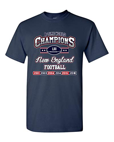 New World Champion 6-Time New England Football DT Adult T-Shirt Tee (XXX Large, Navy Blue) - New Xxx Large T-shirt
