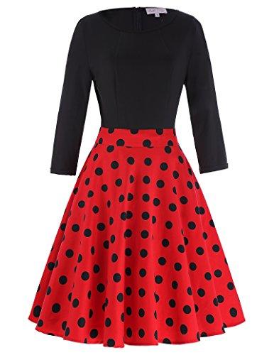 Dot Beaux (Women Vintage Slim Fit 3/4 Sleeve Polka Dots Cotton Swing Dress Red Size M)