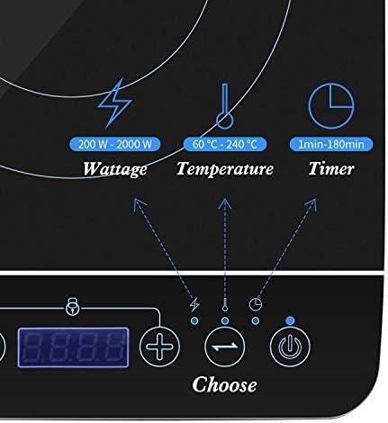 Aigostar BlueFire Draagbare inductiekookplaat met touch-paneel, elektrische inductiekookplaat tot 240 °C en 2000 W