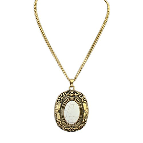 Epinki Gold Plated Womens Girls Statement Necklace Choker Necklace Oval Stone Pendant White ()