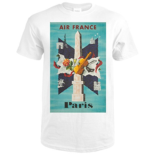 Lantern Press Air France - Paris Vintage Poster (artist: Lancaster) France c. 1956 (Premium White T-Shirt - Lancaster Park City