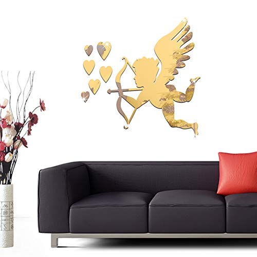 Mirror Home Wall Art 3D God of Love Cupid Decoration Interior Reflection