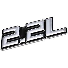 UrMarketOutlet 2.2L Black/Chrome Aluminum Alloy Auto Trunk Door Fender Bumper Badge Decal Emblem Adhesive Tape Sticker
