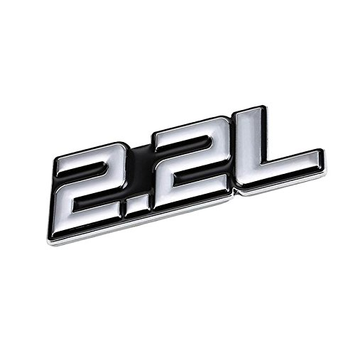 (UrMarketOutlet 2.2L Black/Chrome Aluminum Alloy Auto Trunk Door Fender Bumper Badge Decal Emblem Adhesive Tape Sticker)