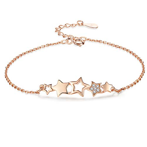 VANA JEWELRY Sterling Silver Bracelets for Women Butterfly Bracelet Diamond Gold Open Bangle 925 Jewelry Girls Link Charms Blue Dainty Pig Zodiac Queen Crown Dolphin Crystal Gift (gold star bracelets) ()