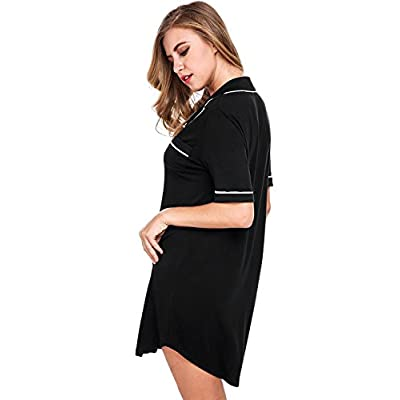e8105779ce70e Sweetnight Women Short Sleeve Nightgown Button Front Boyfriend Sleep Shirt  Pajamas Lounge Sleepwear Maternity S-