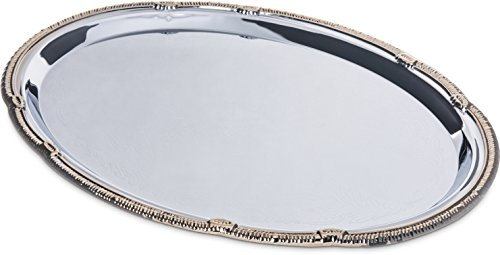 Oval Silver Plated Serving Tray - Carlisle 608913 Celebration Silver Finish Oval Tray With Gold Border, 17.75