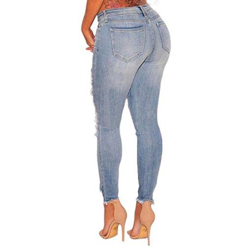 Casual Da Distrutti Skinny Denim Jeans Strappati Blu Donna qxOZIp