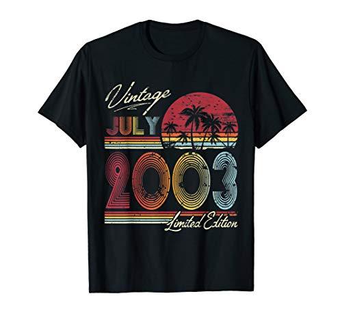 Retro Vintage July 2003 T Shirt Vintage 16th birthday gifts