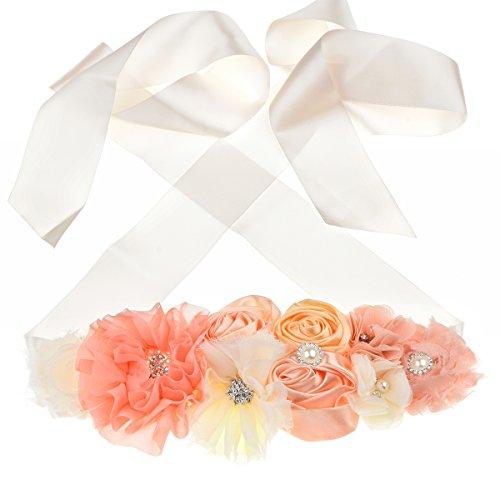 Floral Fall Flower Maternity Pregnancy Sash Baby Shower Gift Photo Prop Girls Bridal Rhinestone Belt SH-19 (Peach)