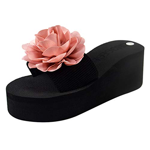Sherostore ♡ Sandals Slippers, Women Flower Summer Wedge Sandals Slipper Beach Thick Bottom Shoes for Indoor and Outdoor