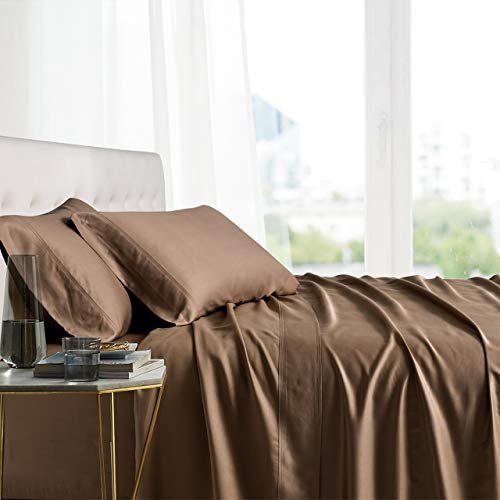 Exquisitely Lavish Body Temperature-Regulated Bedding, 100% Tencel Lyocell Fibers from Eucalyptus, 300 Thread Count, 4 Piece Queen Size Deep Pocket Silky Soft Sheet Set, Taupe