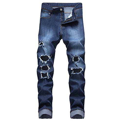 Solid Gold Animal Skin Cream - Creazrise Men's Ripped Slim Fit Straight Denim Jeans Vintage Style Broken Holes Casual Pants (Blue,XL)