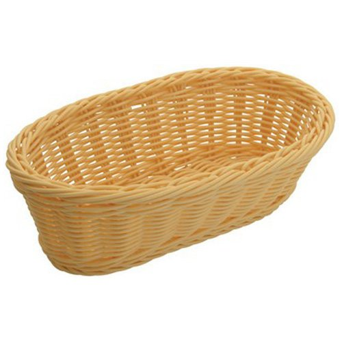 Winco PWBN-94B, 9-Inch Natural Color Polypropylene Oblong Woven Snacks Bread Baskets, 6-Piece Pack by Winco