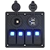 WUPP Boat Rocker Switch Panel 4 Gang ON Off Toggle Switches with 3.1A Double USB Power Charger 12V Cigarette Lighter Socket for Marine Car Truck Jeep
