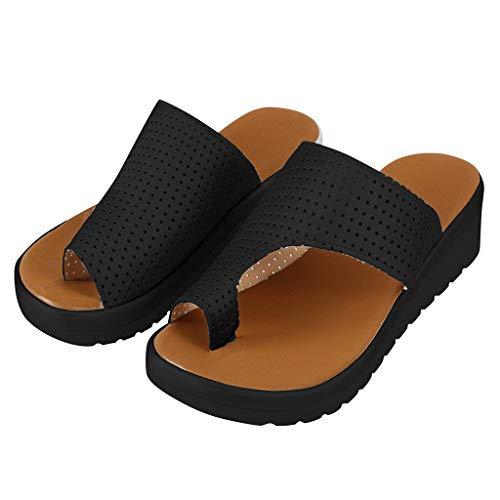 Platform Sandals for Women Summer Wedge Sandal Comfy Peep Toe Slippers Fashion Beach Ladies Casual Shoes 2019 New (40, Black 5) ()