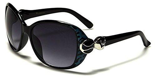 VG Designer ovale mode femme lunettes de soleil - COMPLET UV400 Protection GRATUIT vibranthut microfibre poche inclus - Noir/Rouge, One Size