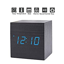 GESIMEI Wooden LED Digital Alarm Clock, Time Date Temperature Display, USB/AAA Battery Powered, Adjustable Brightness, Sound Control Desk Clock for Home Office, Black