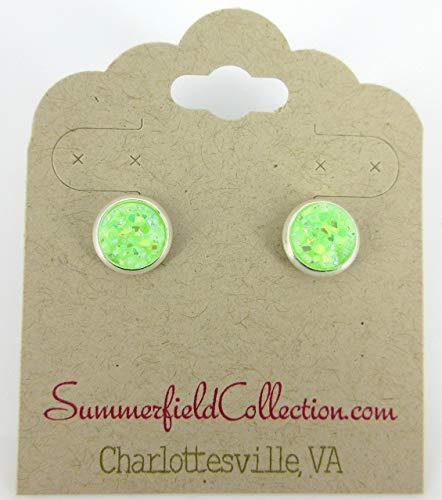 (Silver-tone Lime Green AB Faux Druzy Stone Stud Earrings 8mm)