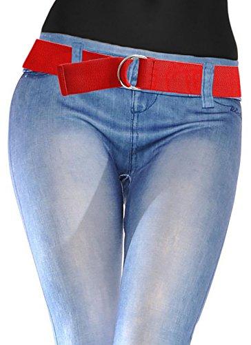 [LUNA Ladies Elastic D-Ring Belt - Red] (Ring Cinch Belt)