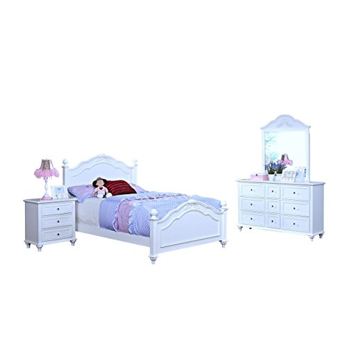 Piece Poster 4 Full - Magnolia Crown Poster 4 Piece Girl's Full Bed, Nightstand, Dresser & Mirror in White