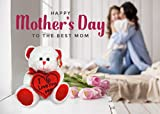 "KINREX Happy Mother's Day Stuffed Teddy Bear Animal Gifts Birthday 11.81"" / 30 cm. White Soft Bear with Red Heart Pillow I Love You Mom"