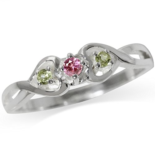 Natural Pink Tourmaline & Peridot 925 Sterling Silver Twin Heart Ring Size 9 Cut Pink Tourmaline Ring