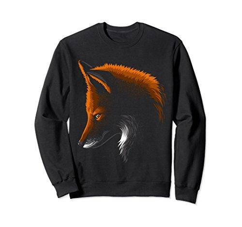 Unisex Shadow face fox Sweatshirt beautiful animal wild Medium Black (Fox Black Sweatshirt)