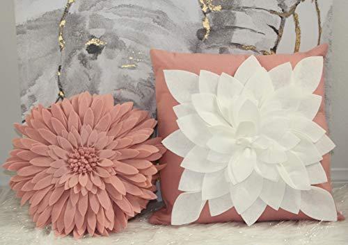 Flower Decorative Pillow - 3D Daisy Flower Pillow, Sunflower Throw Pillow -15 x 13 inch Round Decor Pillow - Flower Home Decorations - Couch & Bed Flower-Shaped Pillow (Case + Insert, Solid Rose) ()