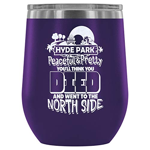 Steel Stemless Wine Glass Tumbler, Peaceful And Pretty Wine Tumbler, Hyde Park Vacuum Insulated Wine Tumbler (Wine Tumbler 12Oz - Purple) ()