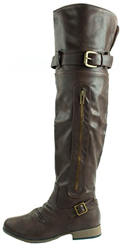 Knee Buckle 26 Faux Leather Decoration with Brown Over Forever Legend Boots Women's High 6qvYA